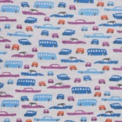 NICKY Blue Cars Retro Design - Velour - BW