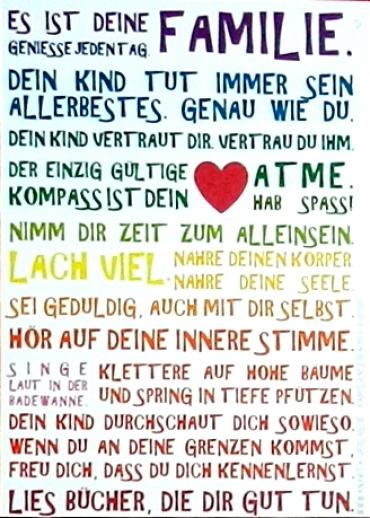 Poster Julia Dibbern: Es ist Deine Familie... Herz 21 x 29,7 SOFORT LIEFERBAR!