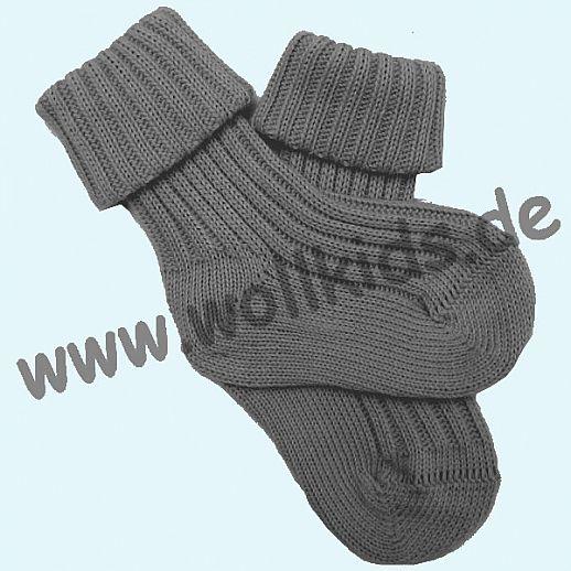 Grödo: natürlich warm Babysocke Schurwolle grau GOTS