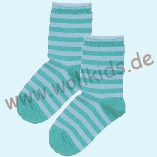 NEU: Grödo Natur - BIO-Baumwolle Kinder-Socken Ringel kbA BW türkis Organic GOTS