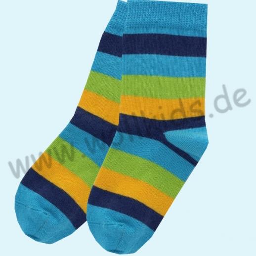 GRÖDO Natur Süße Kinder Socken Ringel kbA Baumwolle blau Ringel