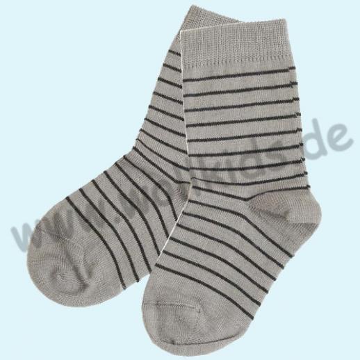 Süße Kinder-Socken Ringel kbT Schurwolle GRÖDO Natur grau-melange