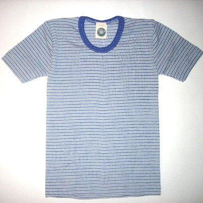 SALE ABverkauf: Cosilana Kinder-Unterhemd KA Wolle geringelt
