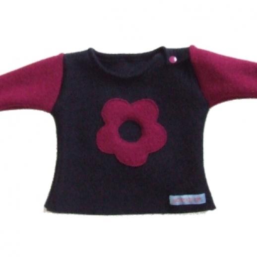 ABVERKAUF Öko Wollwalk Pullover Blume Baby & Kind