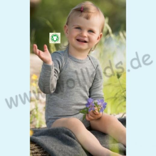 Engel Baby Body Wolle Seide kbT BIO Organic hellgrau Langarmbody