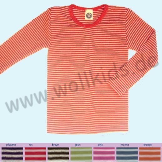 Cosilana Kinder-Unterhemd LA Wolle Seide Ringel ORGANIC Shirt Langarm