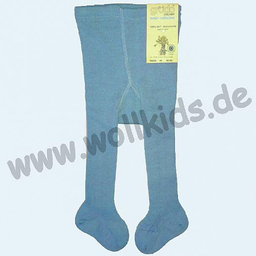 GRÖDO: Babystrumpfhose 100% Demeter Wolle taubenblau