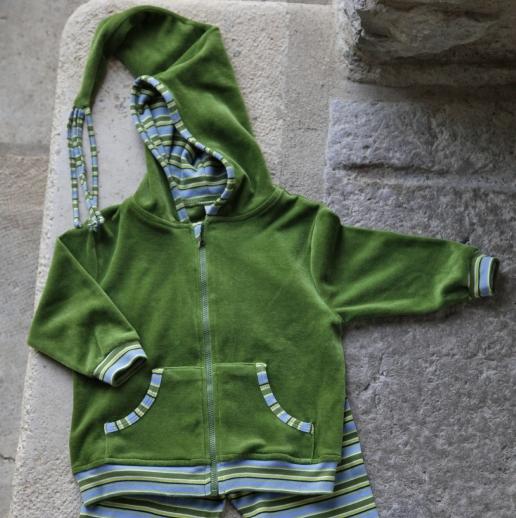 Leela Cotton Nicky Zipfelkapuzenjacke Bio Baumwolle grün