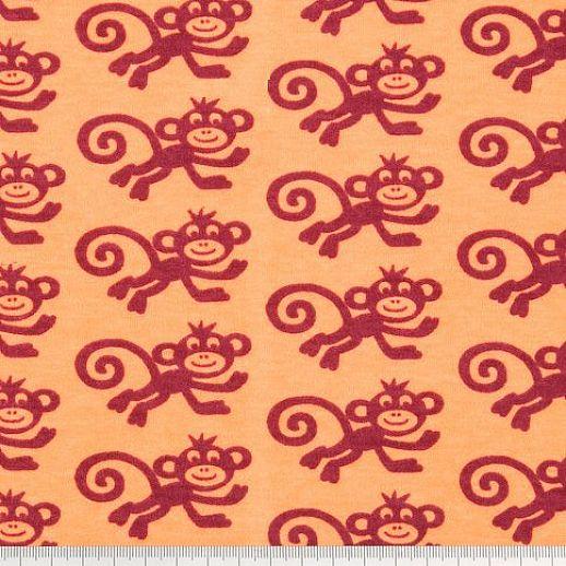 BIO-Interlock orange Affe weinrot Organic - ideal für Baby- & Kinderkleidung