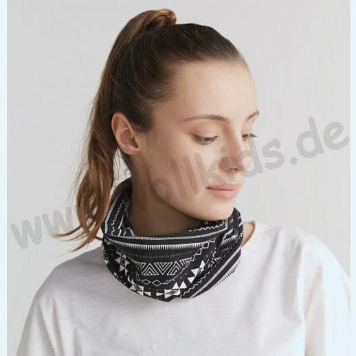 NEU: Schlauchschal - BUFF -  Loop - BIO Baumwolle - ORGANIC COTTON - Schal schwarz - geometrisch
