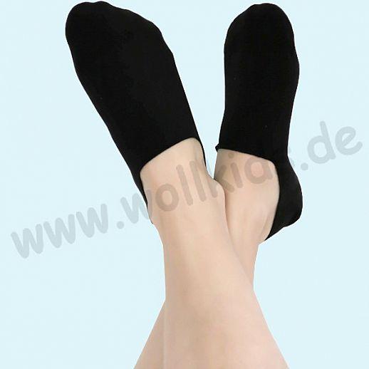 ALBERO - BIO Baumwolle - Damen- und Herren- Füsslinge (invisible) schwarz