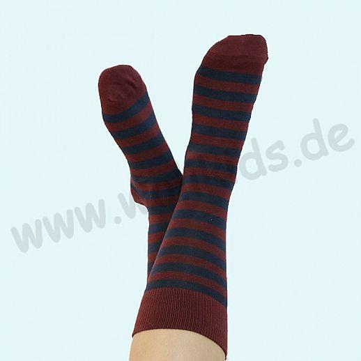ALBERO - BIO Baumwolle - Damen- und Herrensocken Ringel bordeaux marine