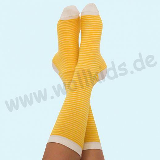 ALBERO - BIO Baumwolle - Damen- und Herrensocken gelb-natur Ringel
