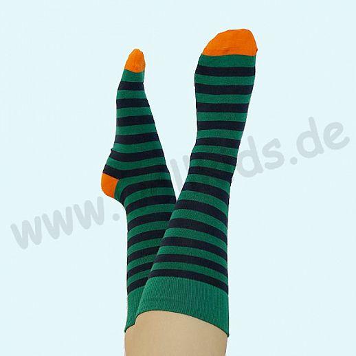 ALBERO - BIO Baumwolle - Damen- und Herrensocken Ringel grün marine