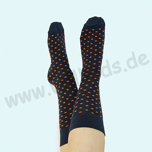 ALBERO - BIO Baumwolle - Damen- und Herrensocken marine orange Punkte