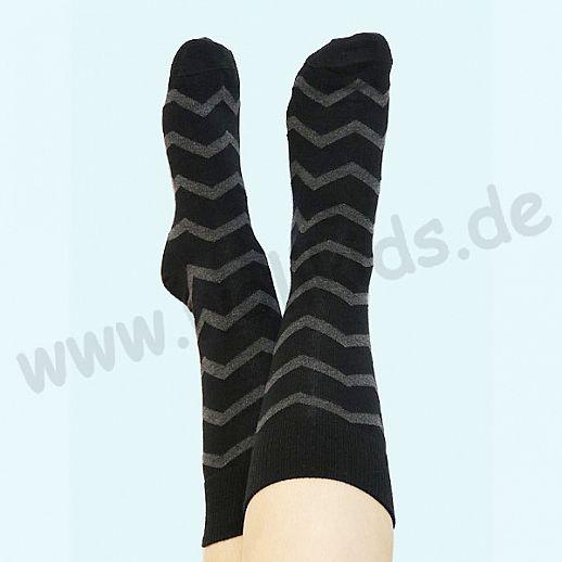 ALBERO - BIO Baumwolle - Damen- und Herrensocken schwarz anthrazit Fischgrat