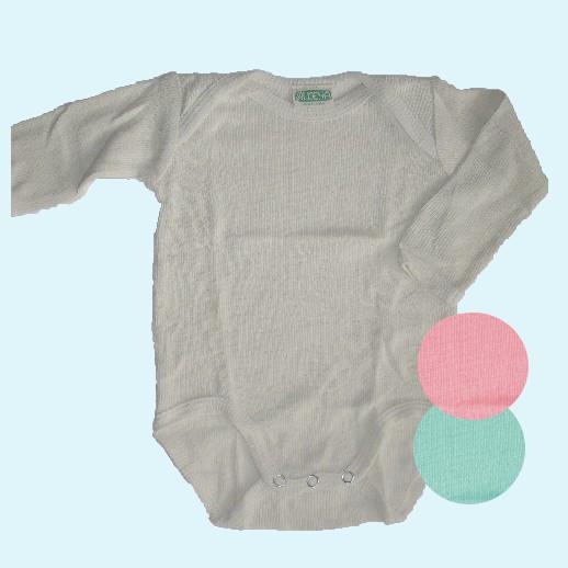 ALKENA Baby-Body Langarm Bourette Seide - natur, rosa, aqua - Neurodermitis