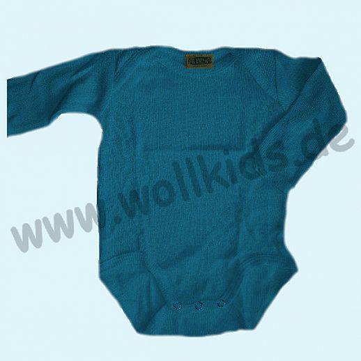 ALKENA Baby-Body Langarm Bourette Seide - saphir, pflaume - Neurodermitis