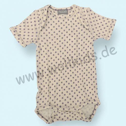 Baby-Body Kurzarm Bourette Seide ALKENA - hautfreundlich - Print: Sterne