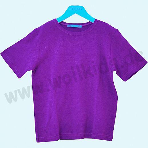 ALKENA Kurzärmliges Kinder-Shirt, auch als Schlafi, Bourette Seide pflaume