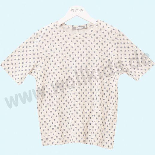 ALKENA Kurzärmliges Kinder-Shirt, auch als Schlafi, Bourette Seide natur Sterne