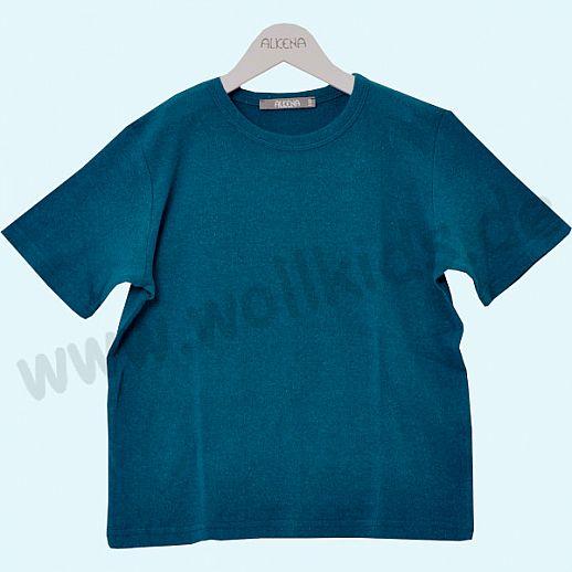 ALKENA Kurzärmliges Kinder-Shirt, auch als Schlafi, Bourette Seide saphir