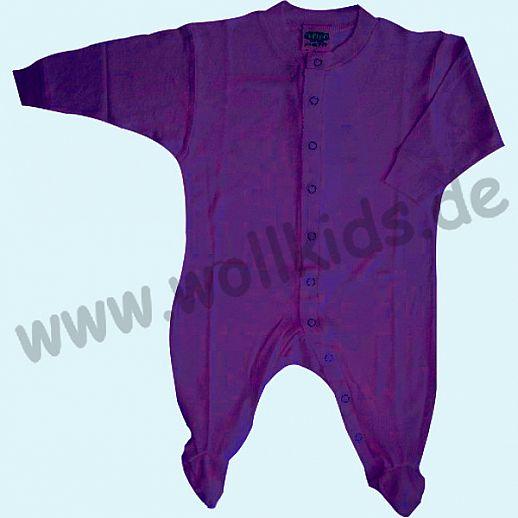 ALKENA Baby Strampler Schlafanzug Bourette Seide - wärmeregulierend - saphir, pflaume