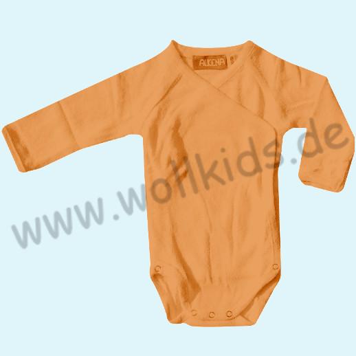 ALKENA Wickelbody Body Langarm Bourette Seide violett, aprikot-gelb