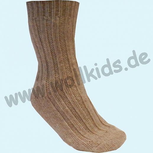 NEU: Richtig dicke Schafwoll - Alpaka Socken hellbraun - endlich warme Füße