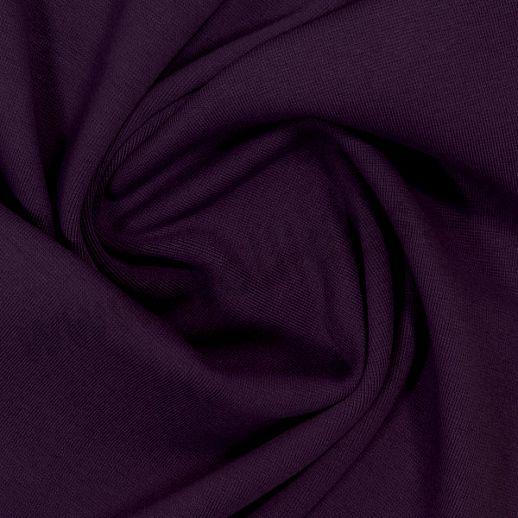Wundervoller Baumwoll - Bündchen Stoff uni dunkellila - griffig & weich zugleich