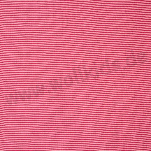 Wundervoller Baumwoll - Bündchen Stoff rosa erika Ringel - griffig & weich zugleich
