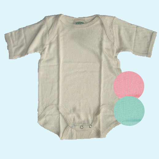 Baby-Body Kurzarm Bourette Seide ALKENA - empfindliche Haut - natur, rosa, aqua