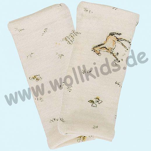 Baby Pulswärmer Handstulpen Babypulswärmer aus Schurwolle Seide Pferdchen Druck - weich und zart