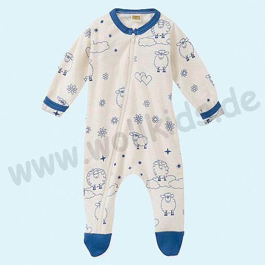 Baby Schlafanzug mit süßen blauen Schafen Druck aus Baumwolle - weich und zart