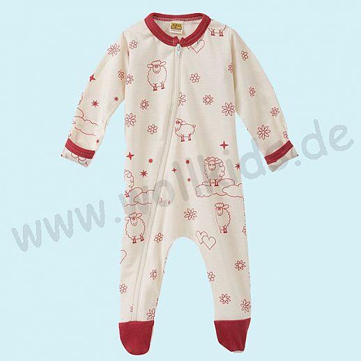 Baby Schlafanzug mit süßen roten Schafen Druck aus Baumwolle - weich und zart