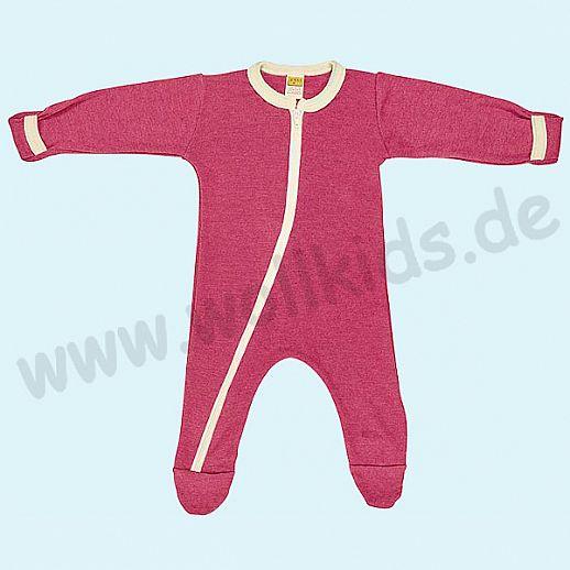 Baby Schlafanzug Schlafi in beere aus Schurwolle Seide - weich und zart
