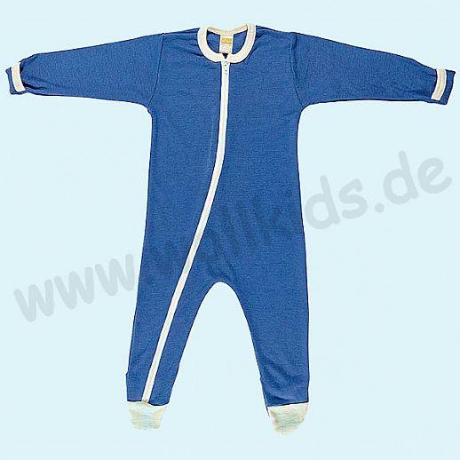 Baby Schlafanzug Schlafi in blau aus Schurwolle Seide - weich und zart