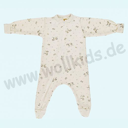 Baby Schlafanzug mit süßem Pferde Druck aus Schurwolle Seide - weich und zart