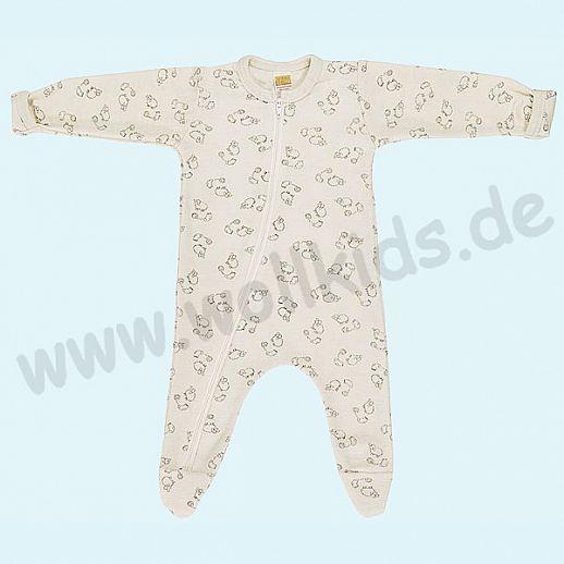 Baby Schlafanzug mit süßem Schafe Druck aus Schurwolle Seide - weich und zart