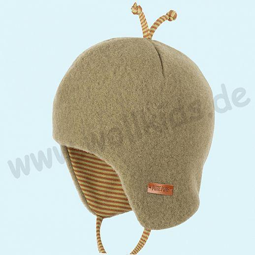 PURE-TEX Weiche Wollfleece Mütze, kbT Schurwolle olive - kuschelig weich - perfekter Sitz