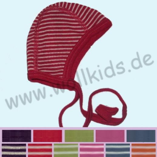 COSILANA: Baby-Häubchen - Mütze - Wolle Seide - Ringel, einfarbig, auch natur