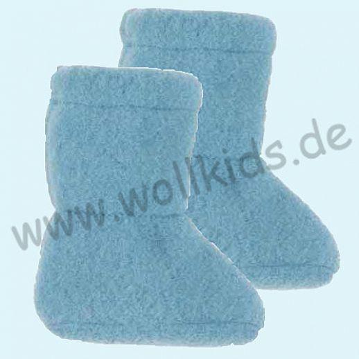 PURE PURE by Bauer: Wollfleece weiche Babystiefel - Schuhe ideal auch für Traglinge - bleu