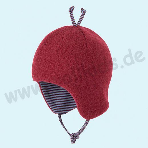 PURE-TEX Weiche Wollfleece Mütze, kbT Schurwolle bordeaux - kuschelig weich - perfekter Sitz