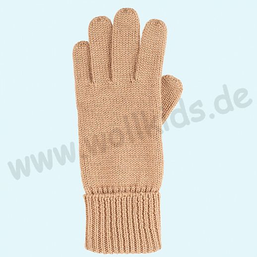 GENIAL: Fingerhandschuhe aus reiner Schurwolle für Kinder - sand