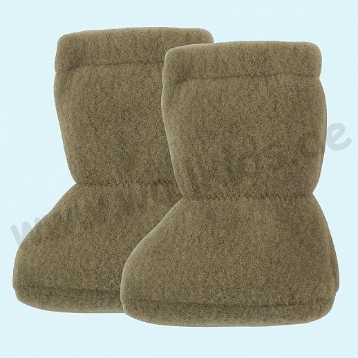 PURE PURE by Bauer: Wollfleece weiche Babystiefel - Schuhe ideal auch für Traglinge - oliv