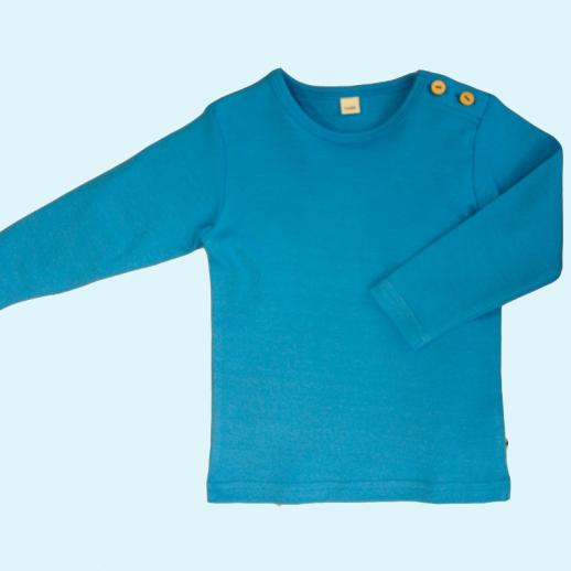 BIO BAUMWOLLE Leela Cotton Langarm T-Shirts kbA BW Uni Langarm Shirt BASIC nordisch blau mittelblau