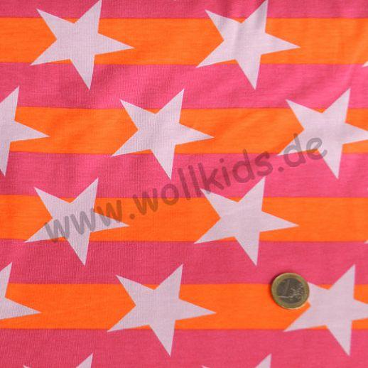 Jersey - Baumwolle - Blockstars orange pink Sterne - sehr hochwertige Qualität