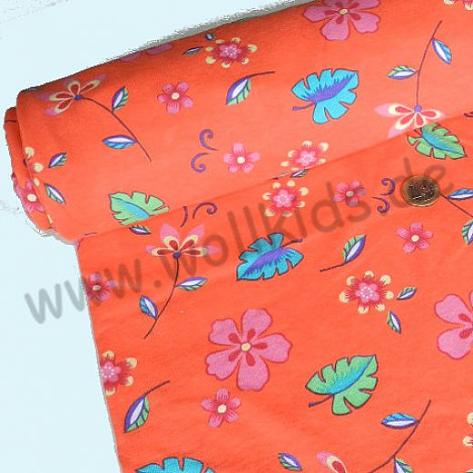 Interlock - orange mit bunten Blumen - Baumwolle - wunderschön