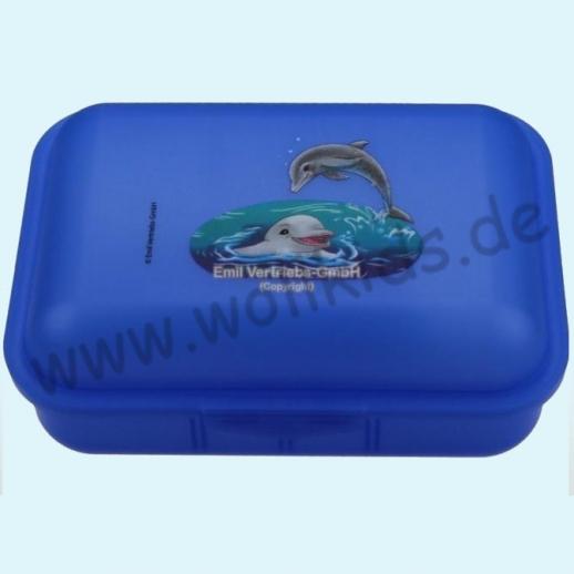 Emil die Flasche - Brotdose mit Innenteilung blau mit Delfinen