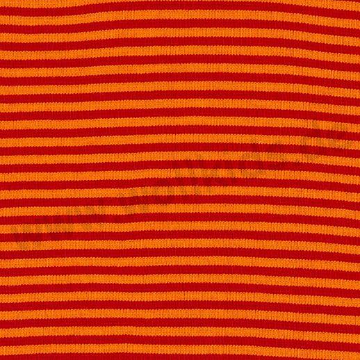Wundervoller Baumwoll - Bündchen Stoff rot orange Ringel - griffig & weich zugleich